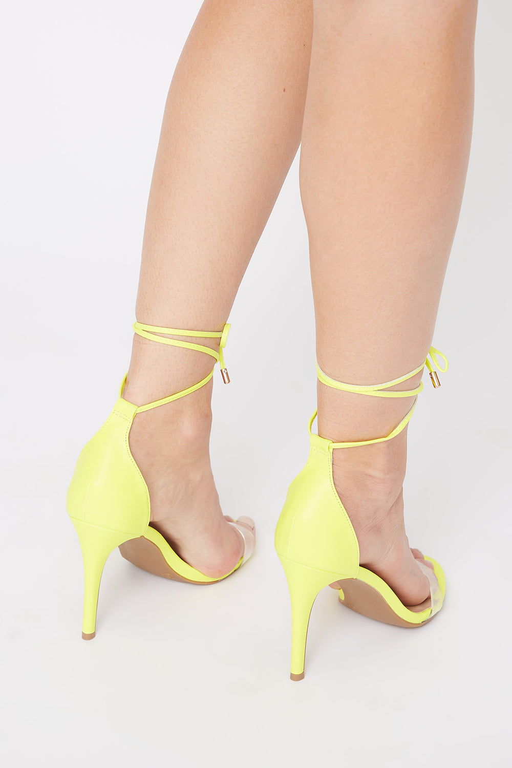 Clear Band Tie-Up Stiletto Sandal Neon Yellow