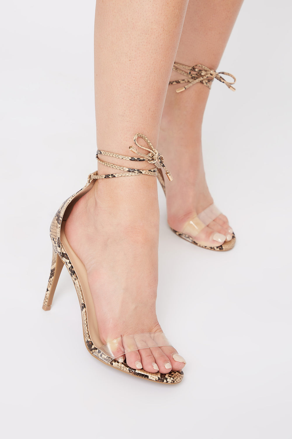 Clear Band Tie-Up Stiletto Sandal Black with White