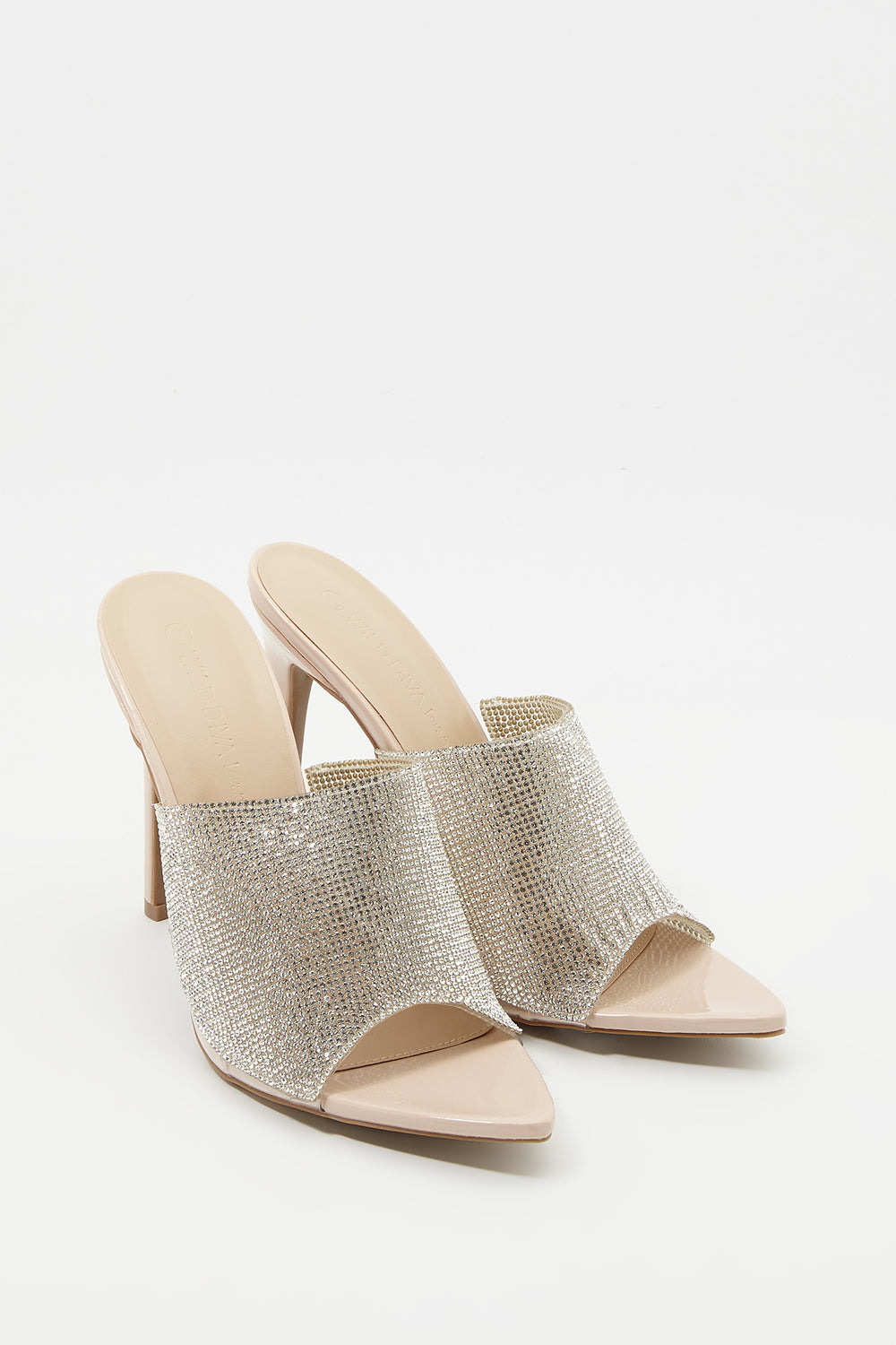 Rhinestone Pointed Mule Sandal Natural