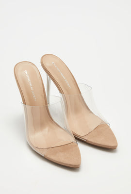 Pointed Open-Toe Clear Stiletto Mule