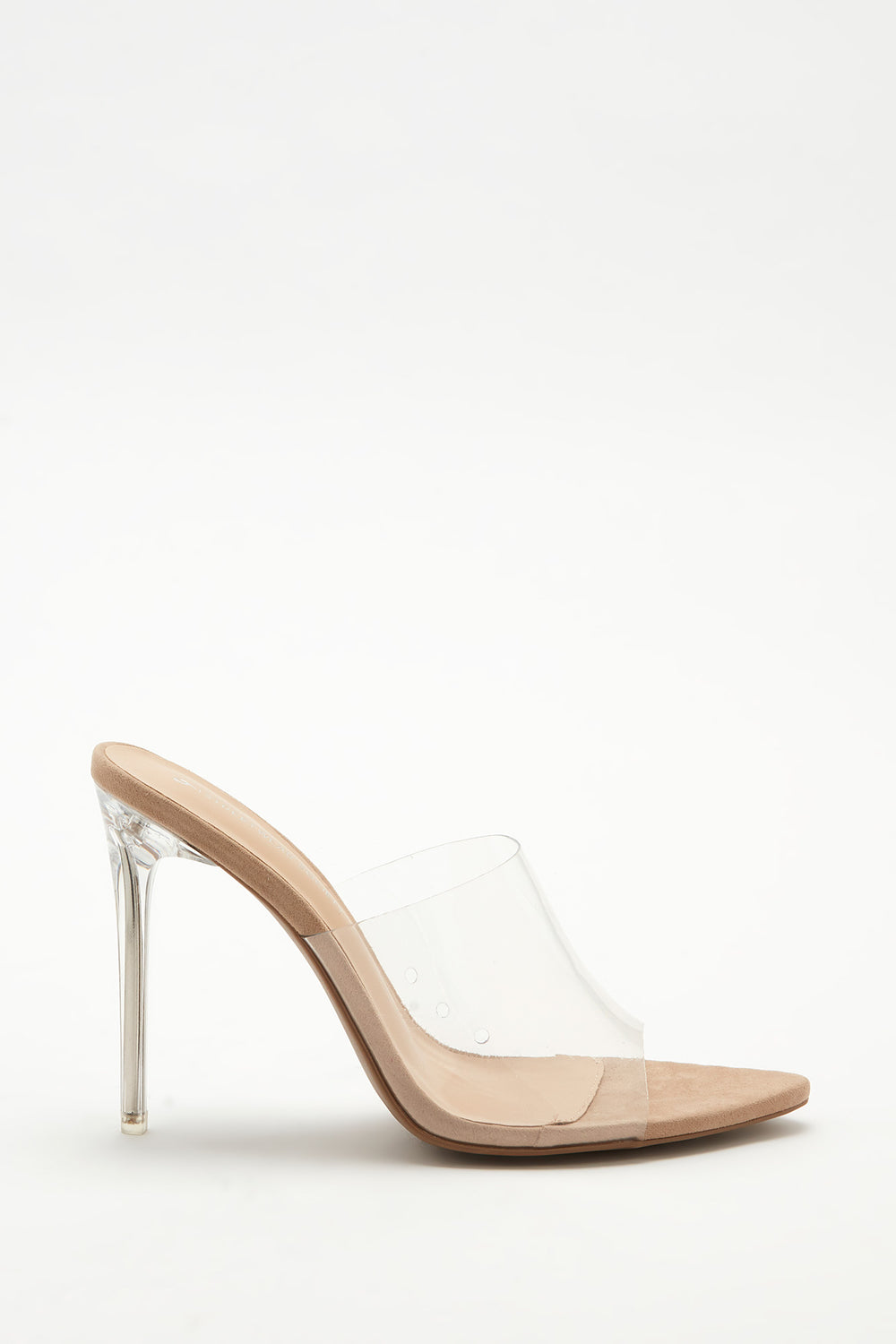 Pointed Open-Toe Clear Stiletto Mule Natural