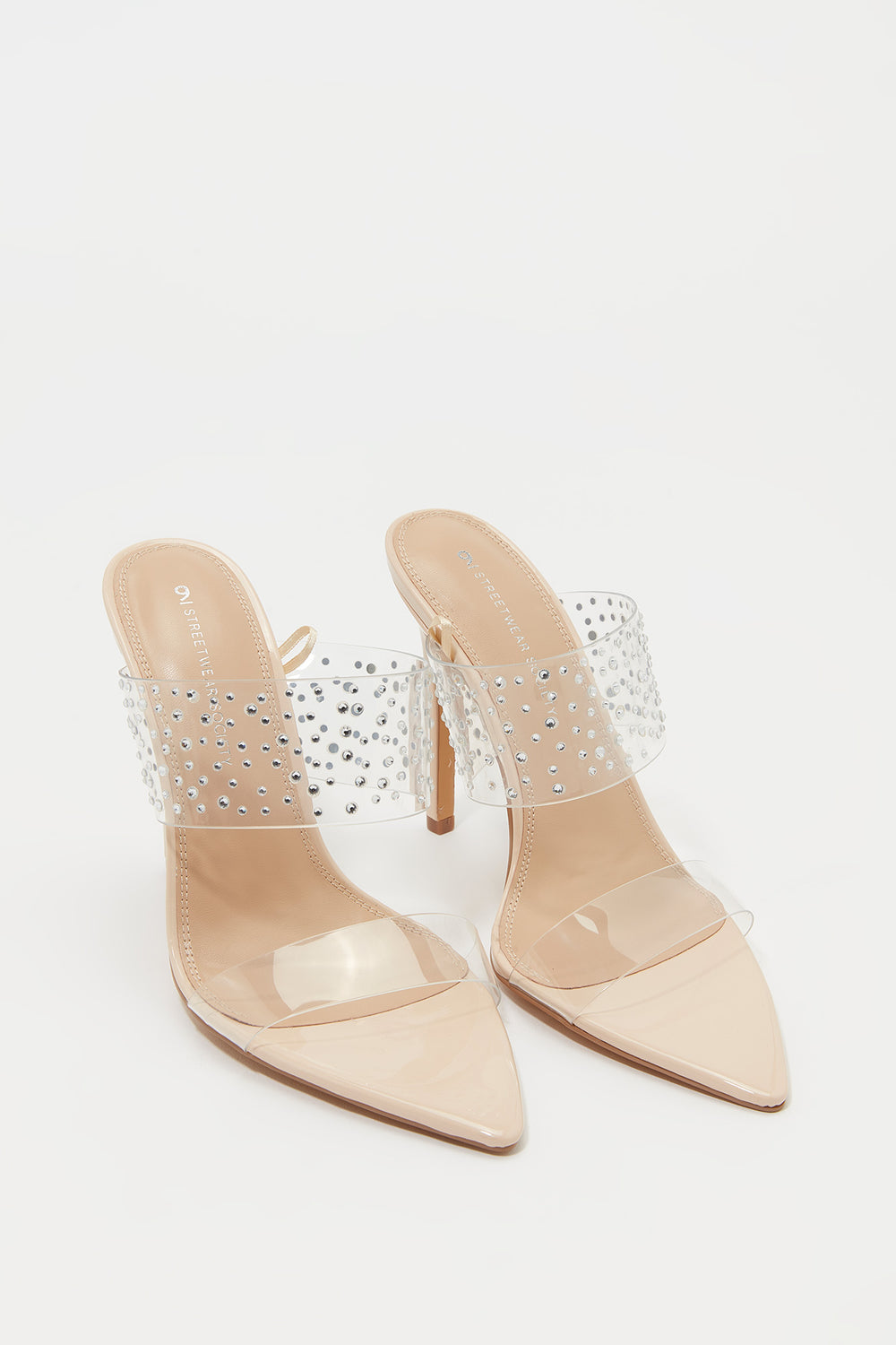 Rhinestone Clear Strap Stiletto Mule Natural