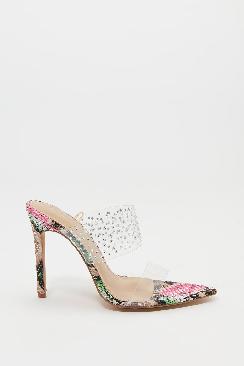 Rhinestone Clear Strap Stiletto Mule Multi