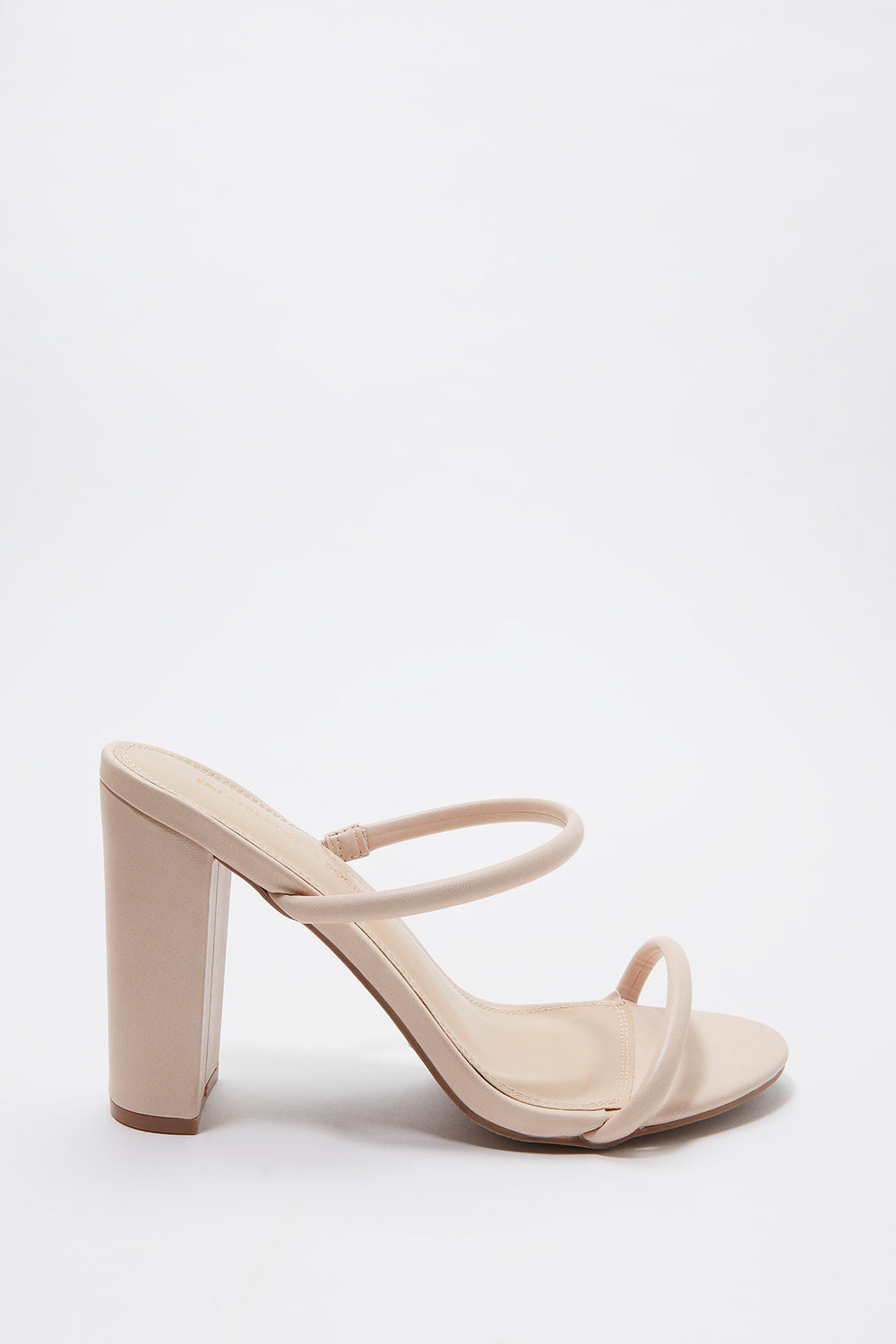 Faux-Leather Tube Band Block Heel Mule Natural