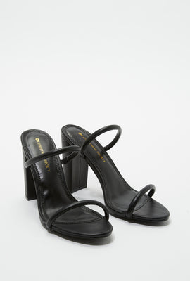 Faux-Leather Tube Band Block Heel Mule