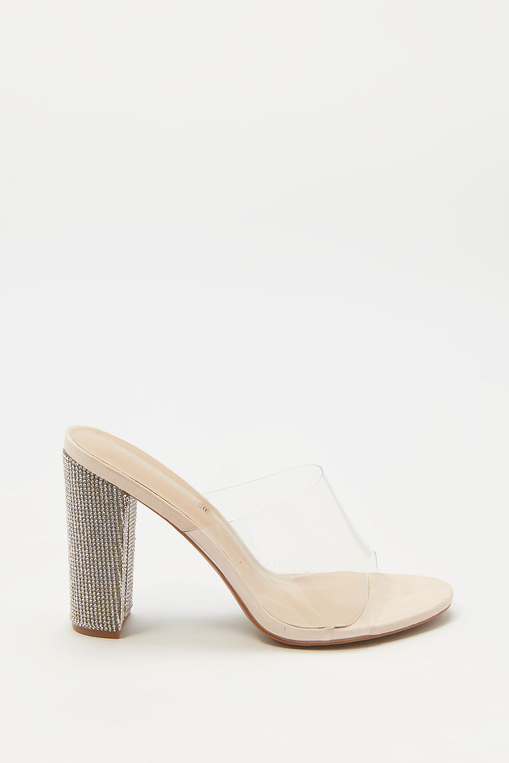 Clear Band Rhinestone Block Heel Mule Natural