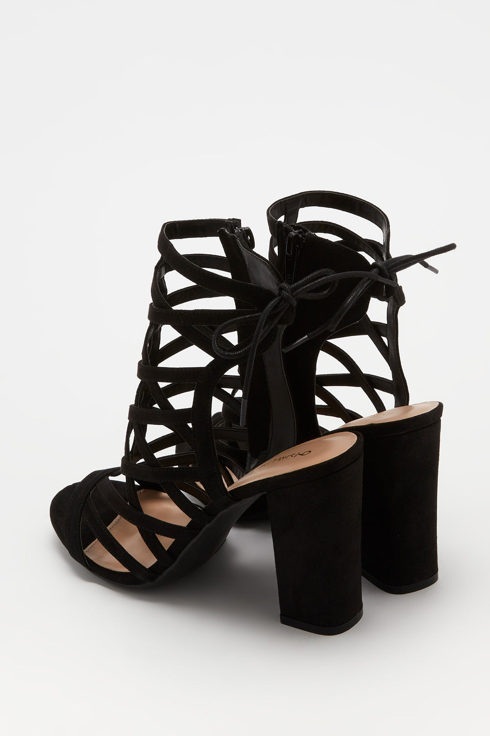Caged Block Heel Sandal Black