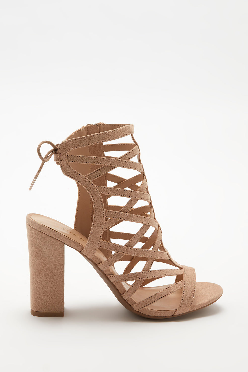 Caged Block Heel Sandal Natural
