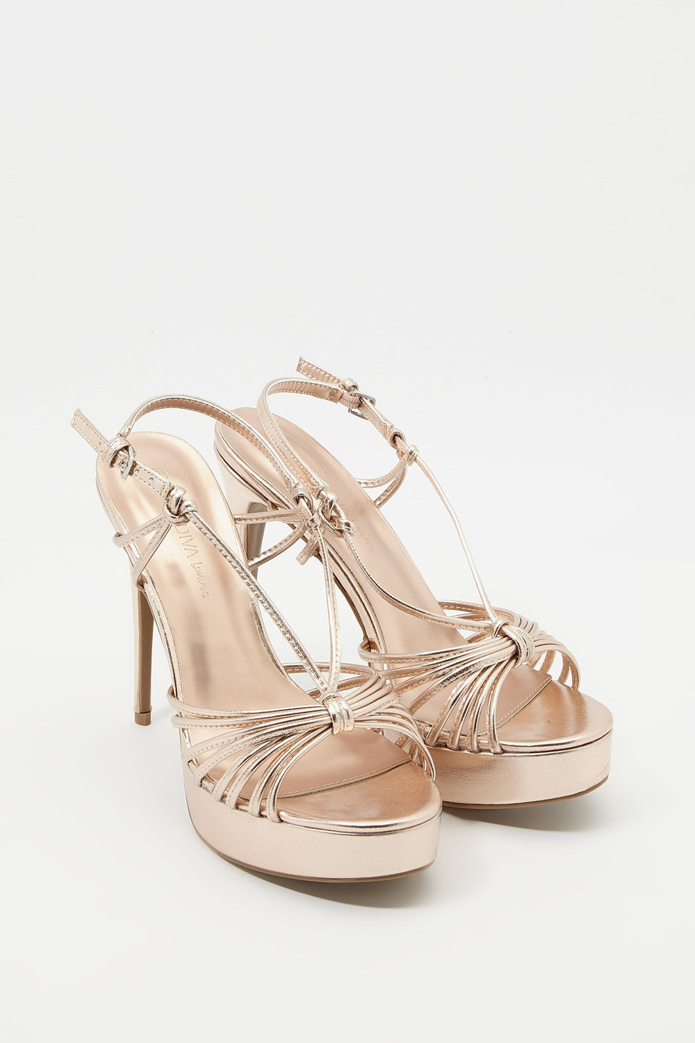 Strappy Platform Stiletto Sandal Bronze