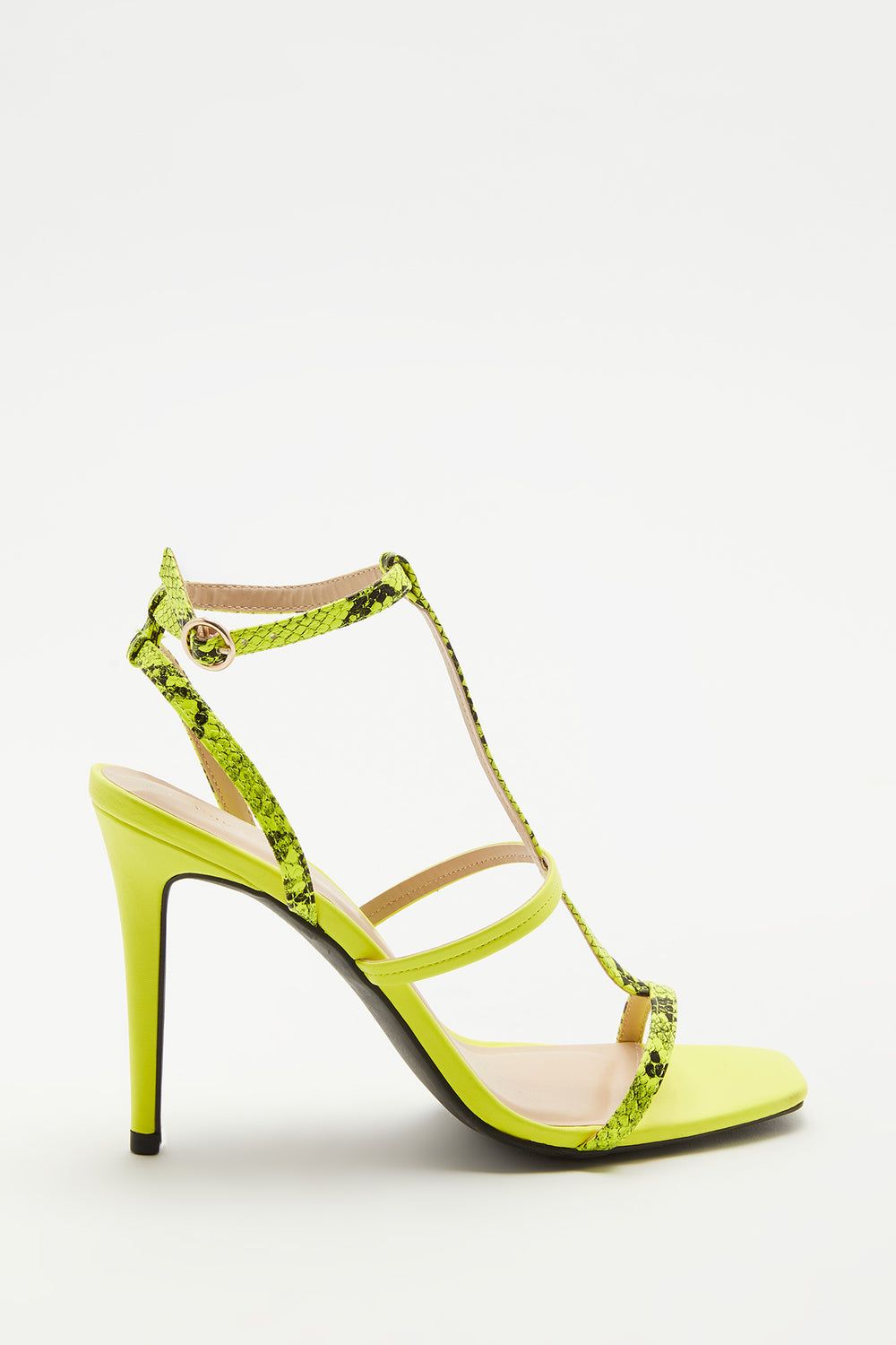Strappy Python Stiletto Sandal Neon Yellow