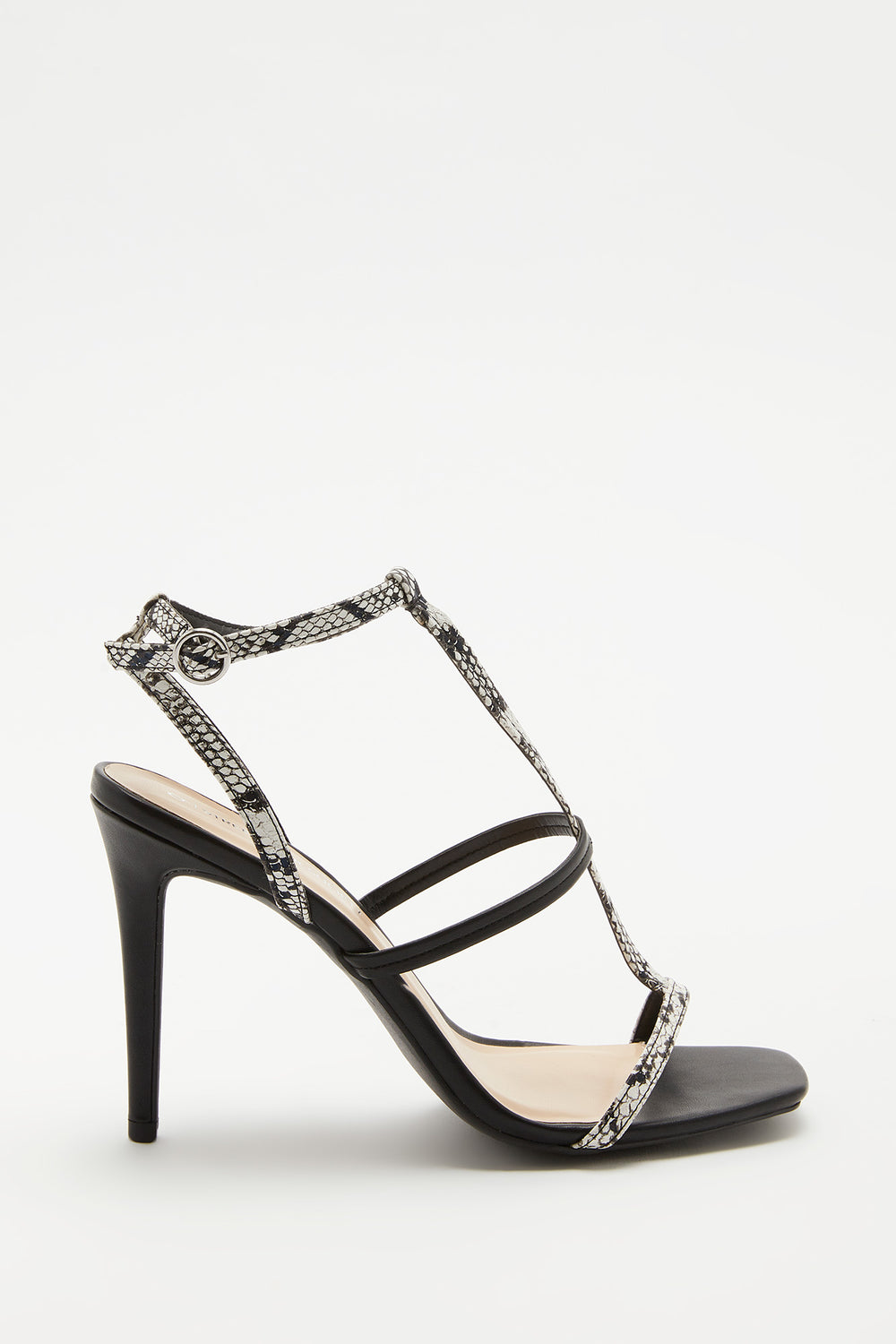 Strappy Python Stiletto Sandal Black with White
