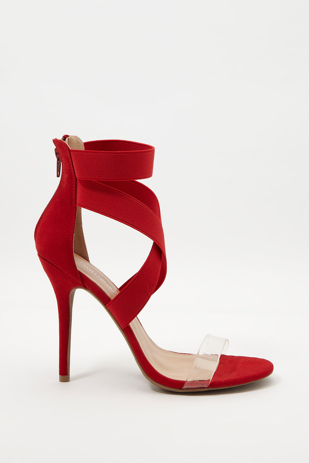 Crossover Strap Stiletto Sandal Red