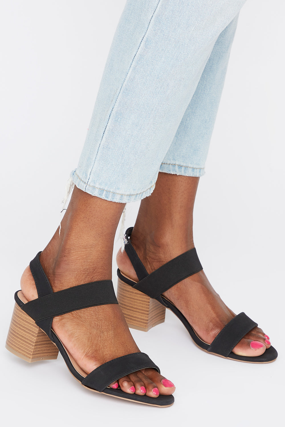 Mid Block Heel Sandal Plaid