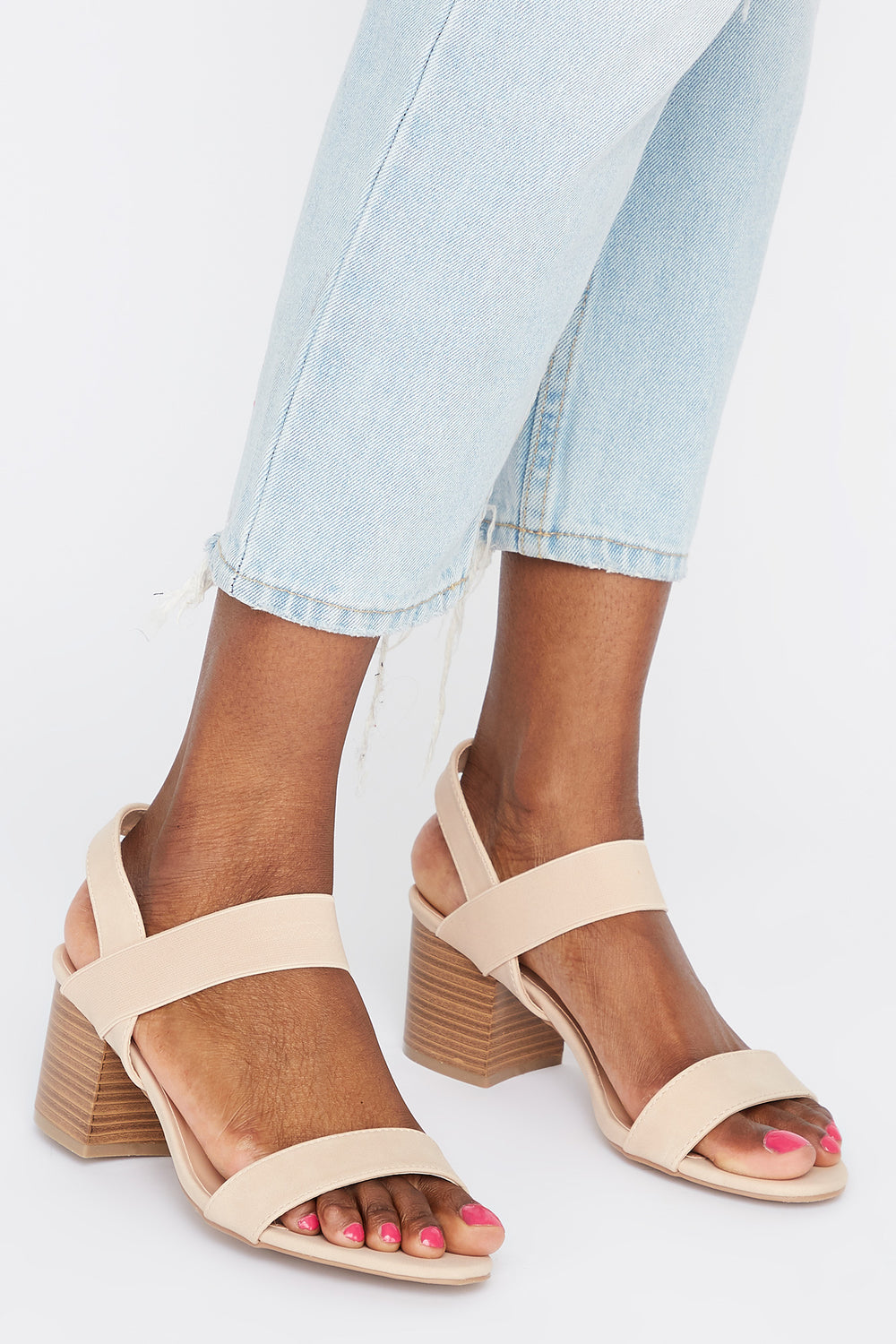 Mid Block Heel Sandal Natural