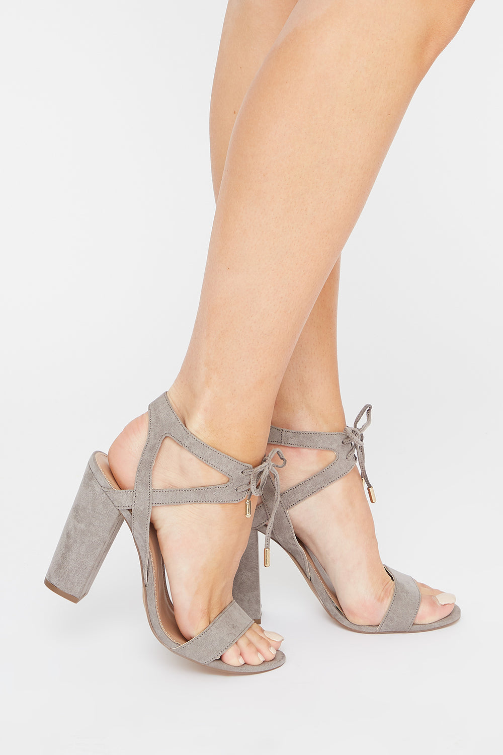 Front Tie Block Heel Sandal Heather Grey