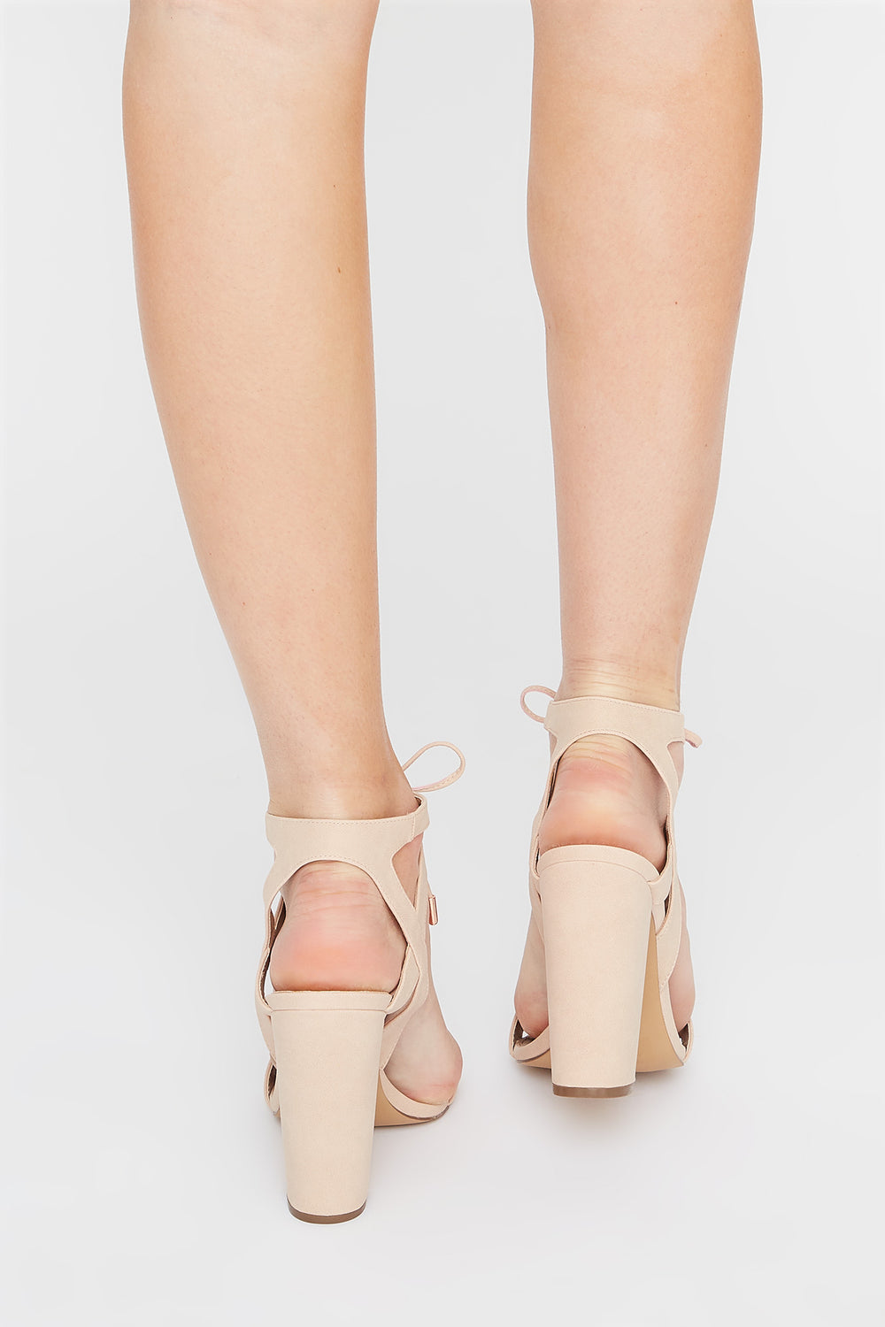 Front Tie Block Heel Sandal Light Pink