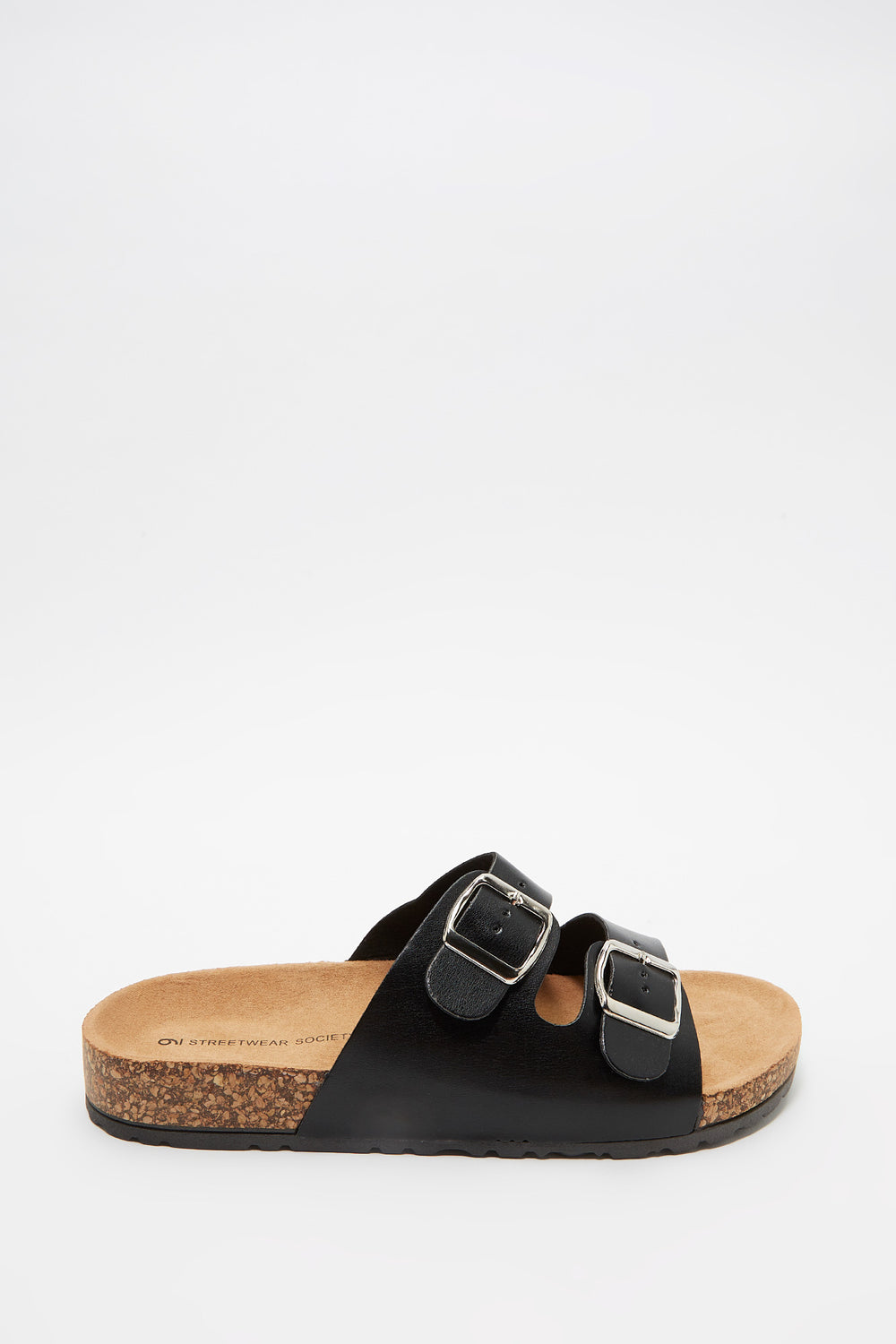 Dual Buckle Strap Cork Slide Black