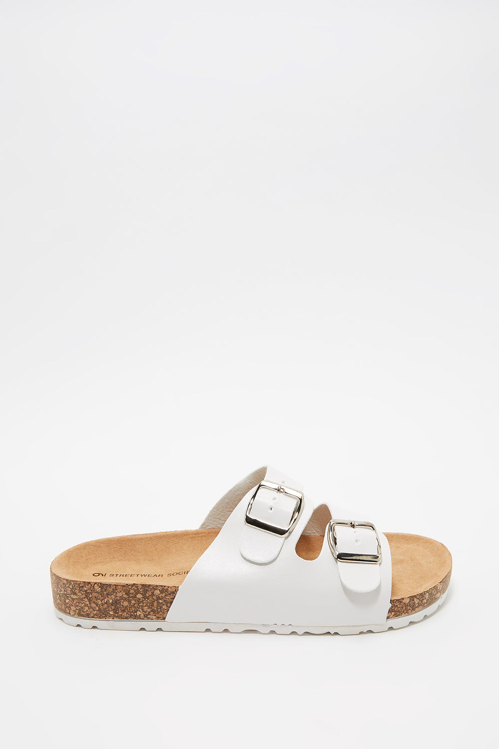 Dual Buckle Strap Cork Slide White