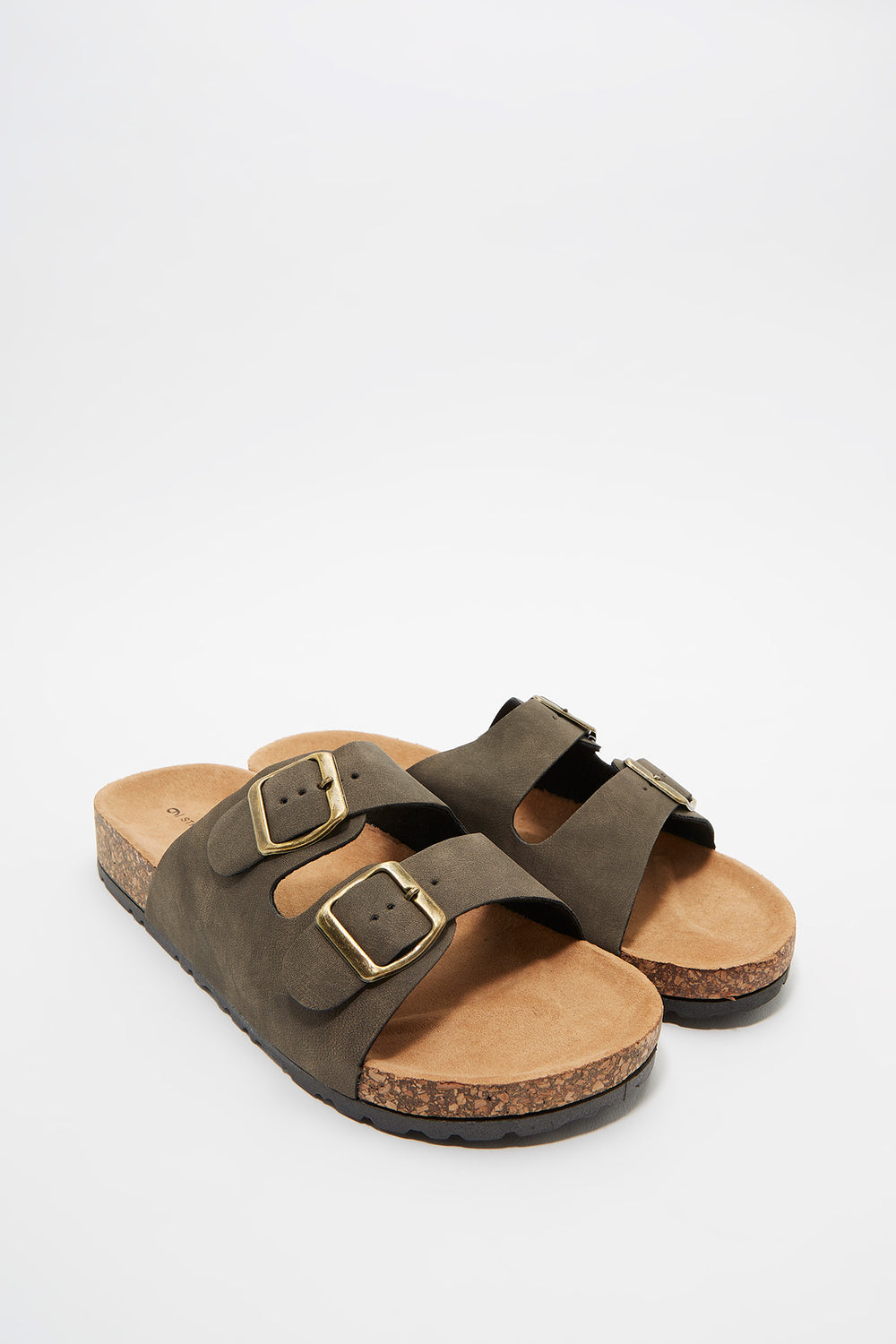 Dual Buckle Strap Cork Slide Dark Green