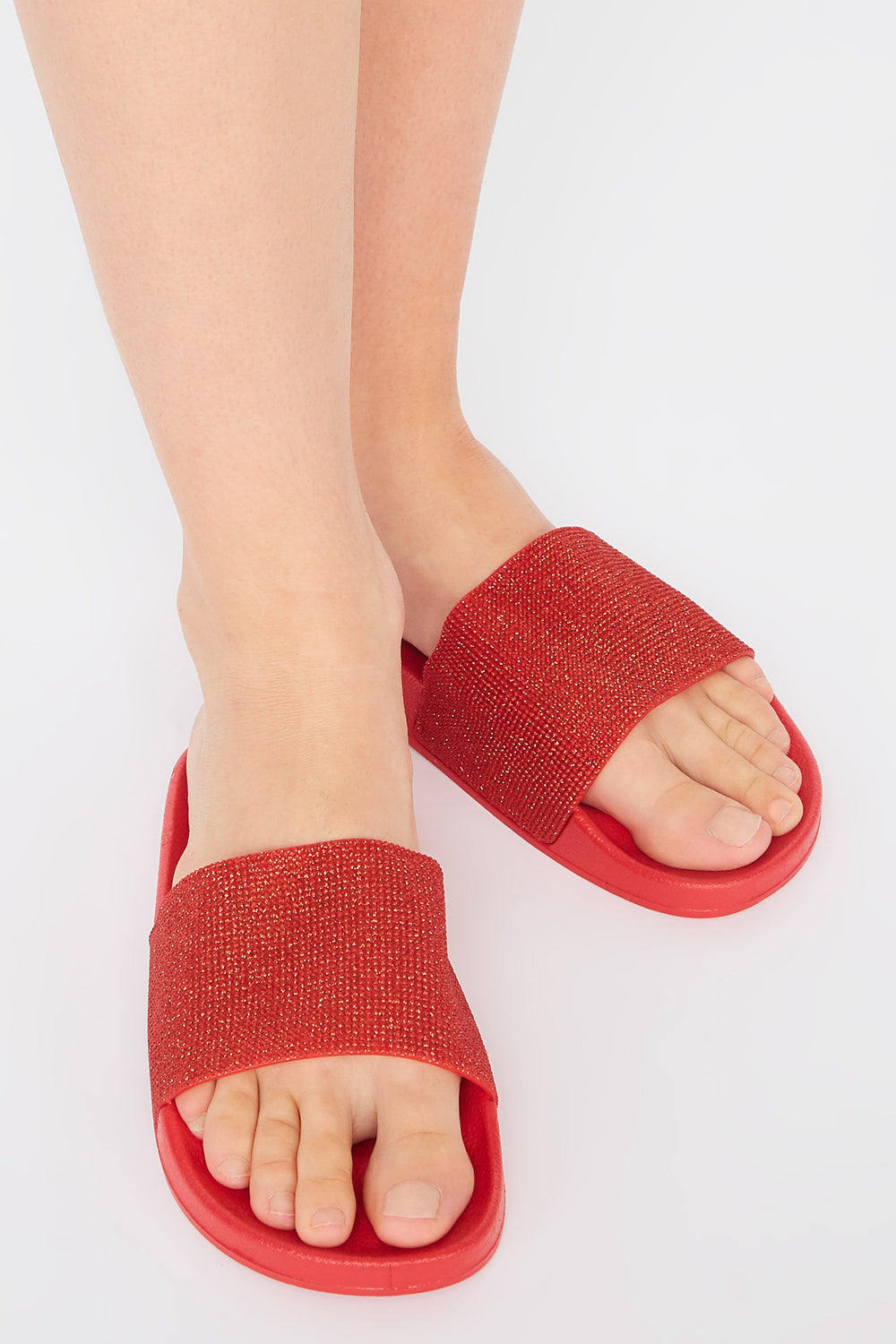 Metallic Rhinestone Banded Slide Red