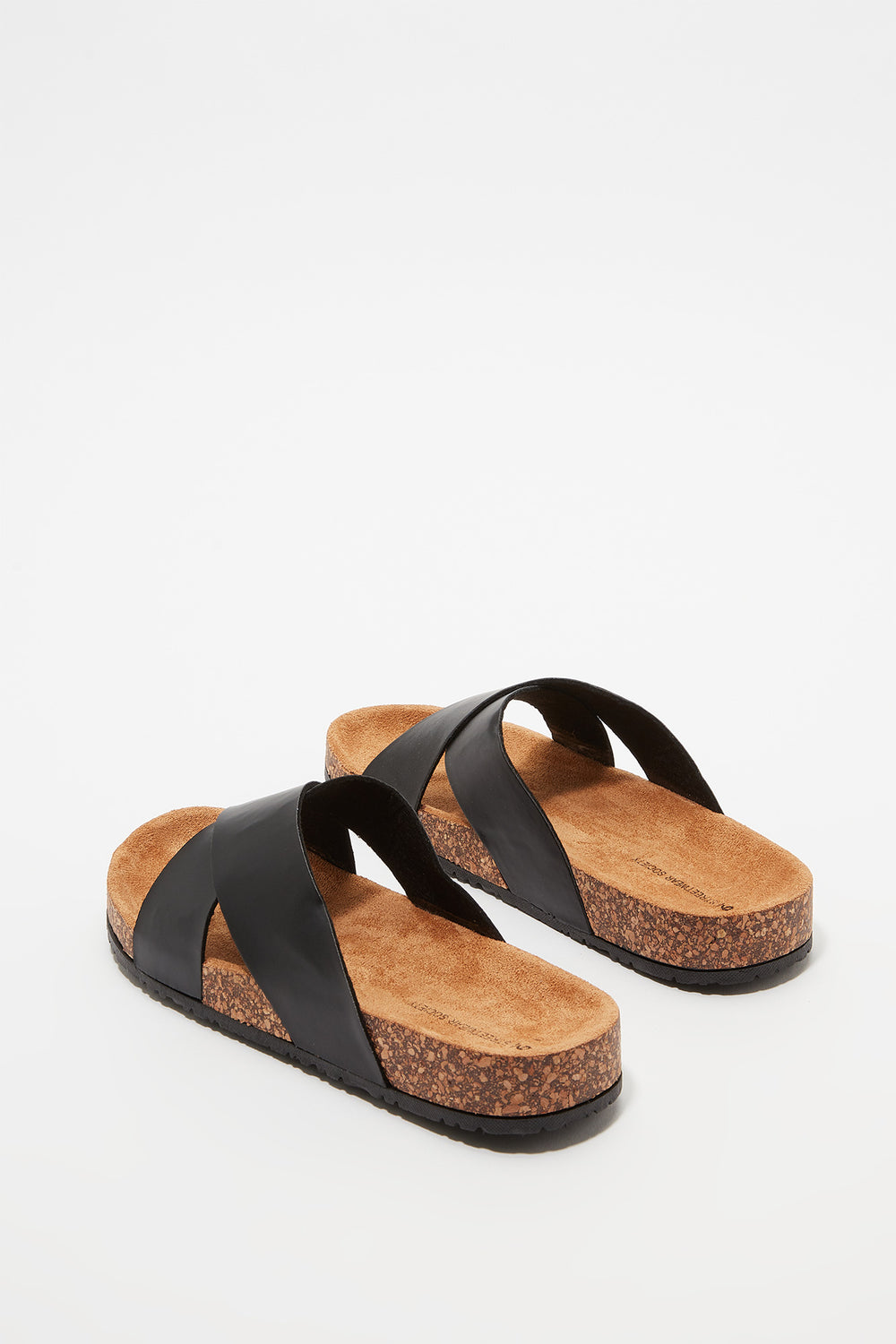 Crisscross Cork Slip-On Sandal Black