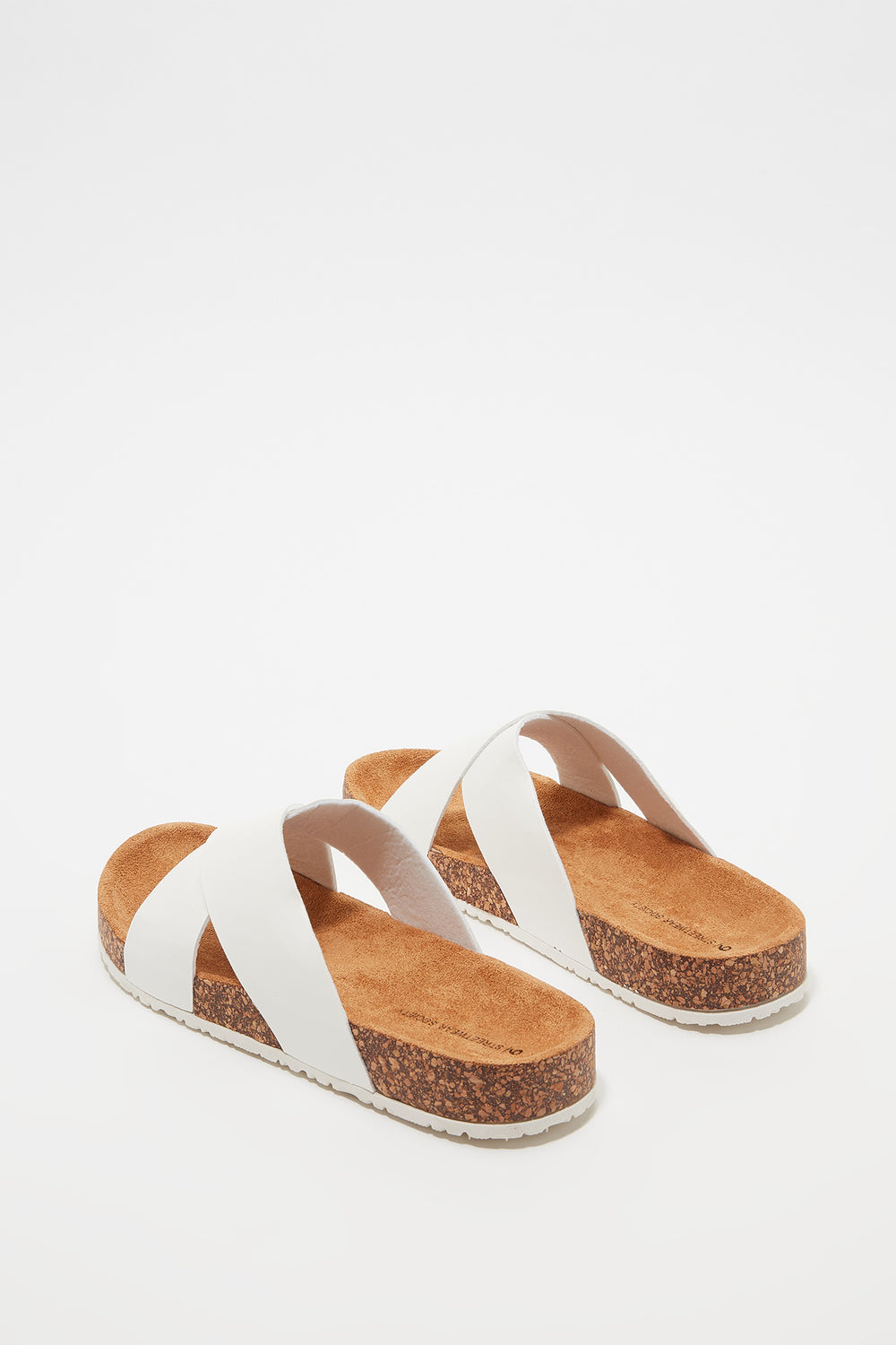 Crisscross Cork Slip-On Sandal White