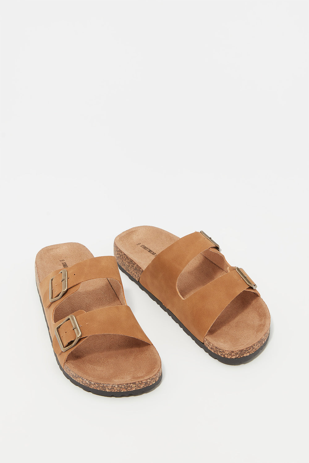 Faux-Suede Double Strap Cork Slip-On Sandal Tan