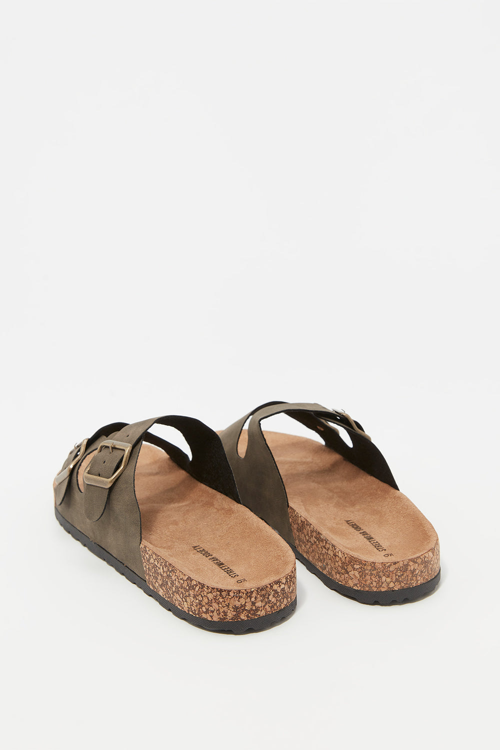 Faux-Suede Double Strap Cork Slip-On Sandal Dark Green