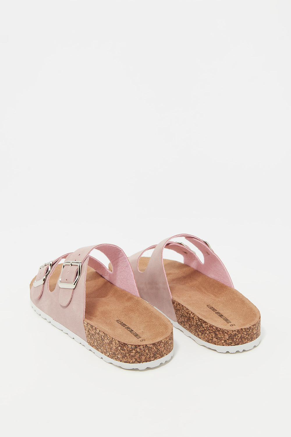 Faux-Suede Double Strap Cork Slip-On Sandal Pink