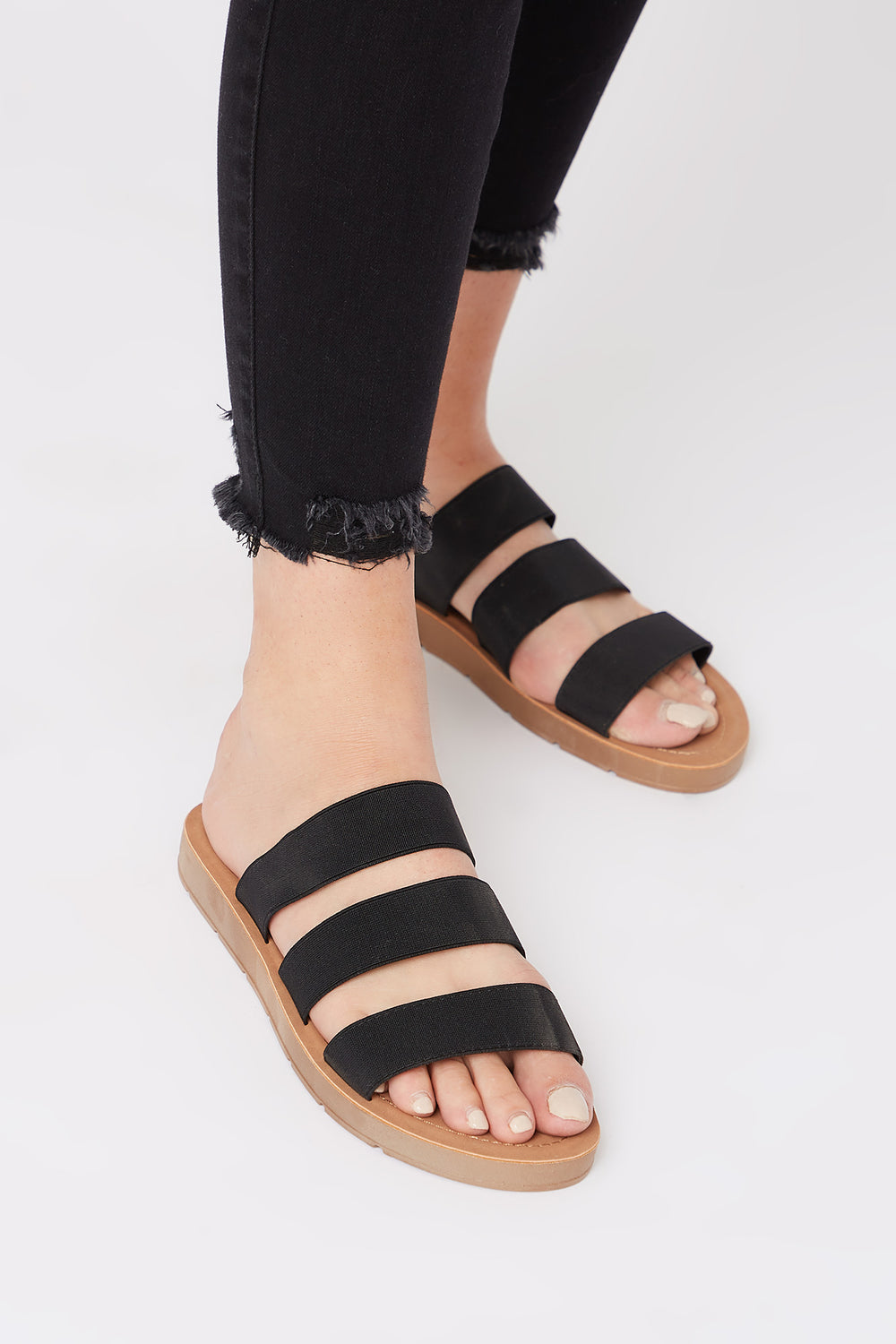 Triple Elastic Band Comfort Slide Black