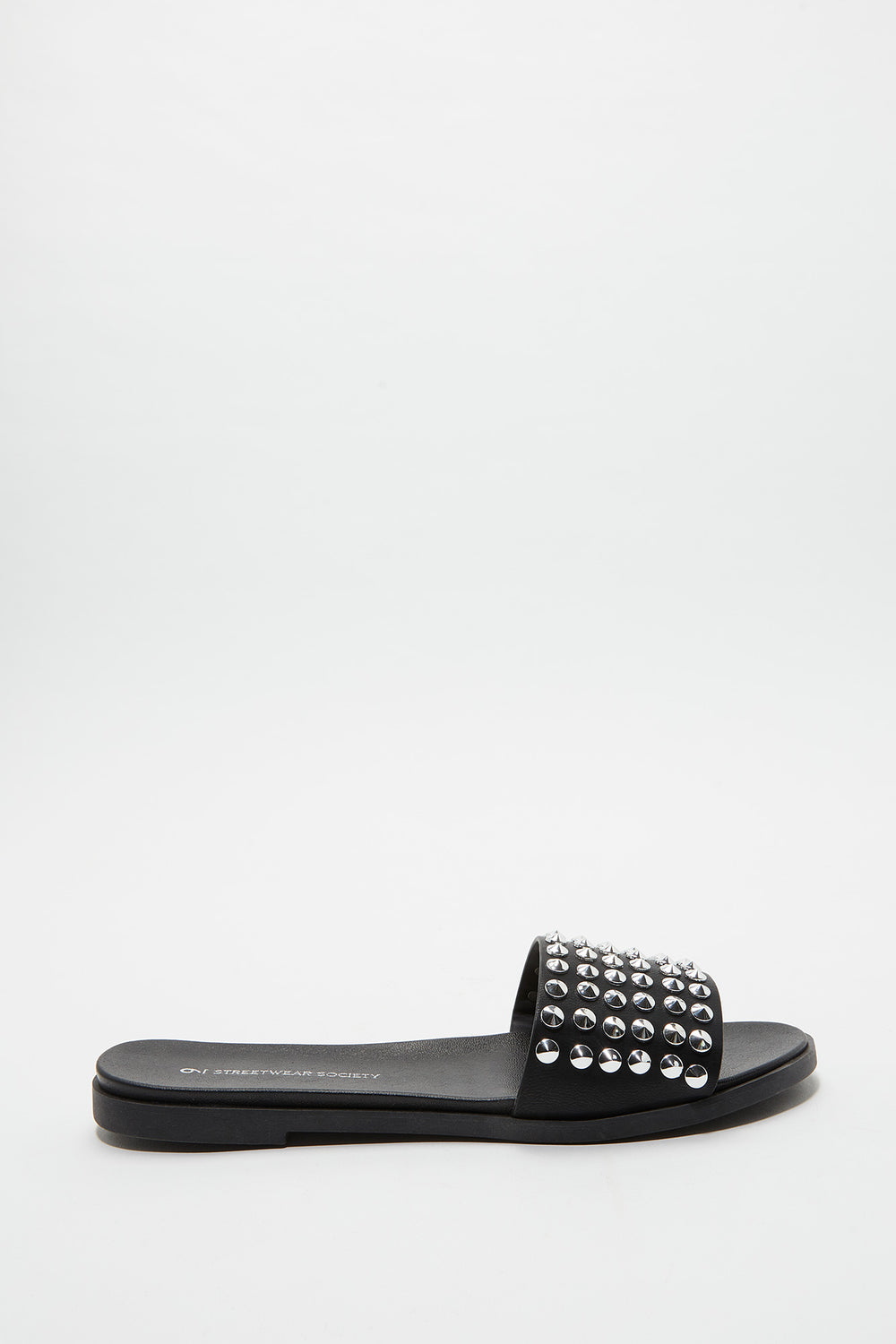 Studded Faux Leather Slide Black