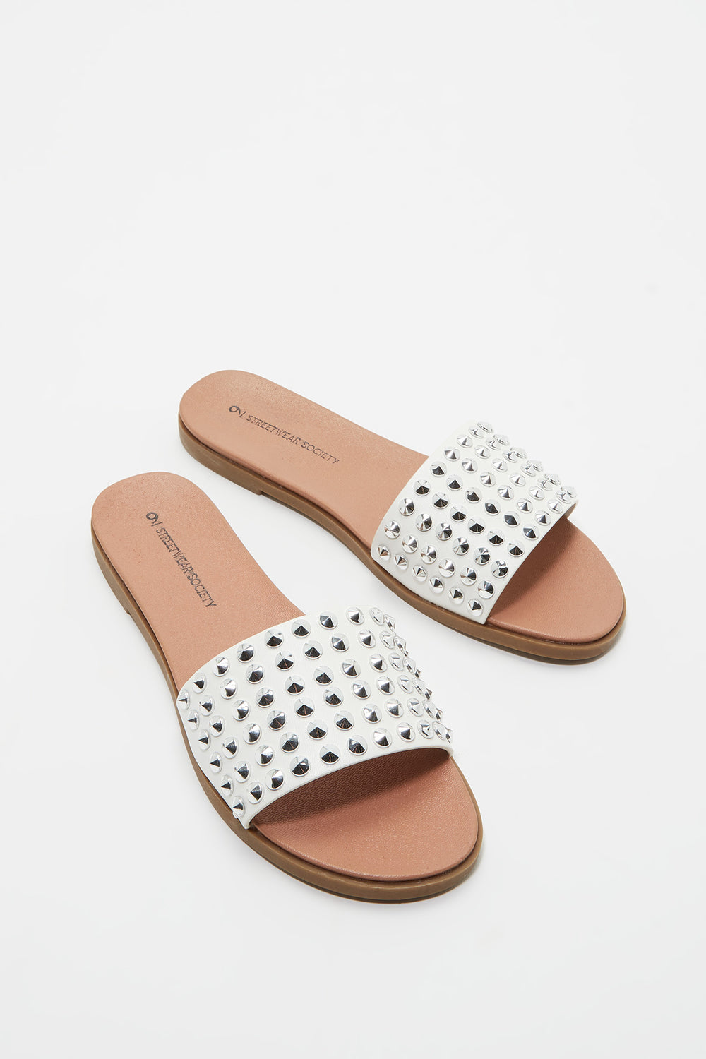 Studded Faux Leather Slide White