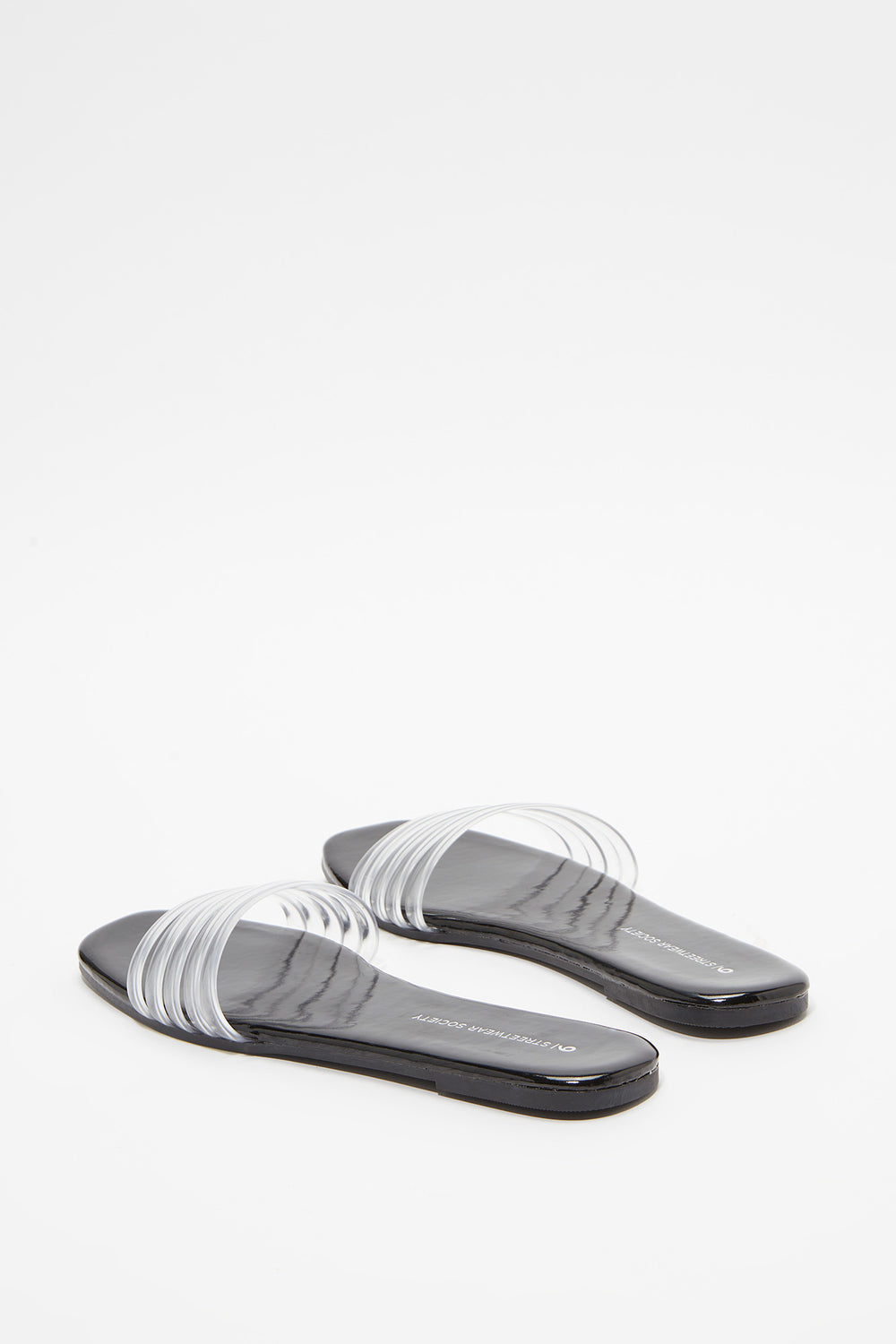 Clear Band Slip-On Sandal Noir