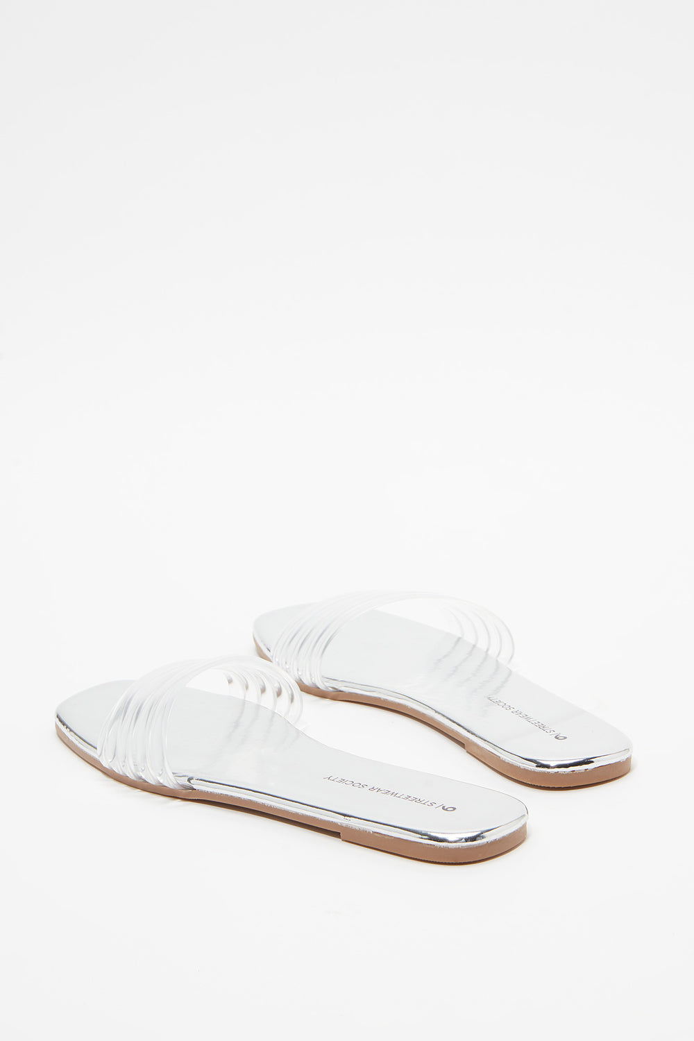 Clear Band Slip-On Sandal Silver