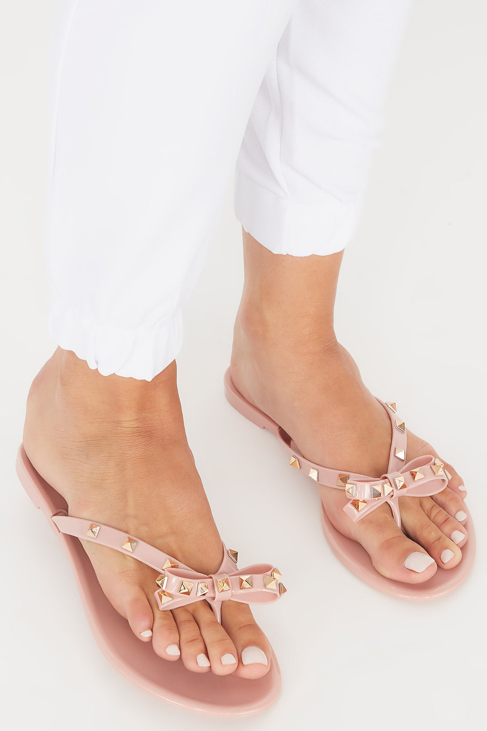 Studded Jelly Bow Thong Sandal Rose