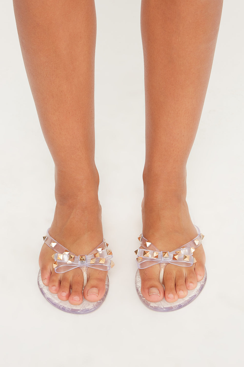 Studded Jelly Bow Thong Sandal Clear