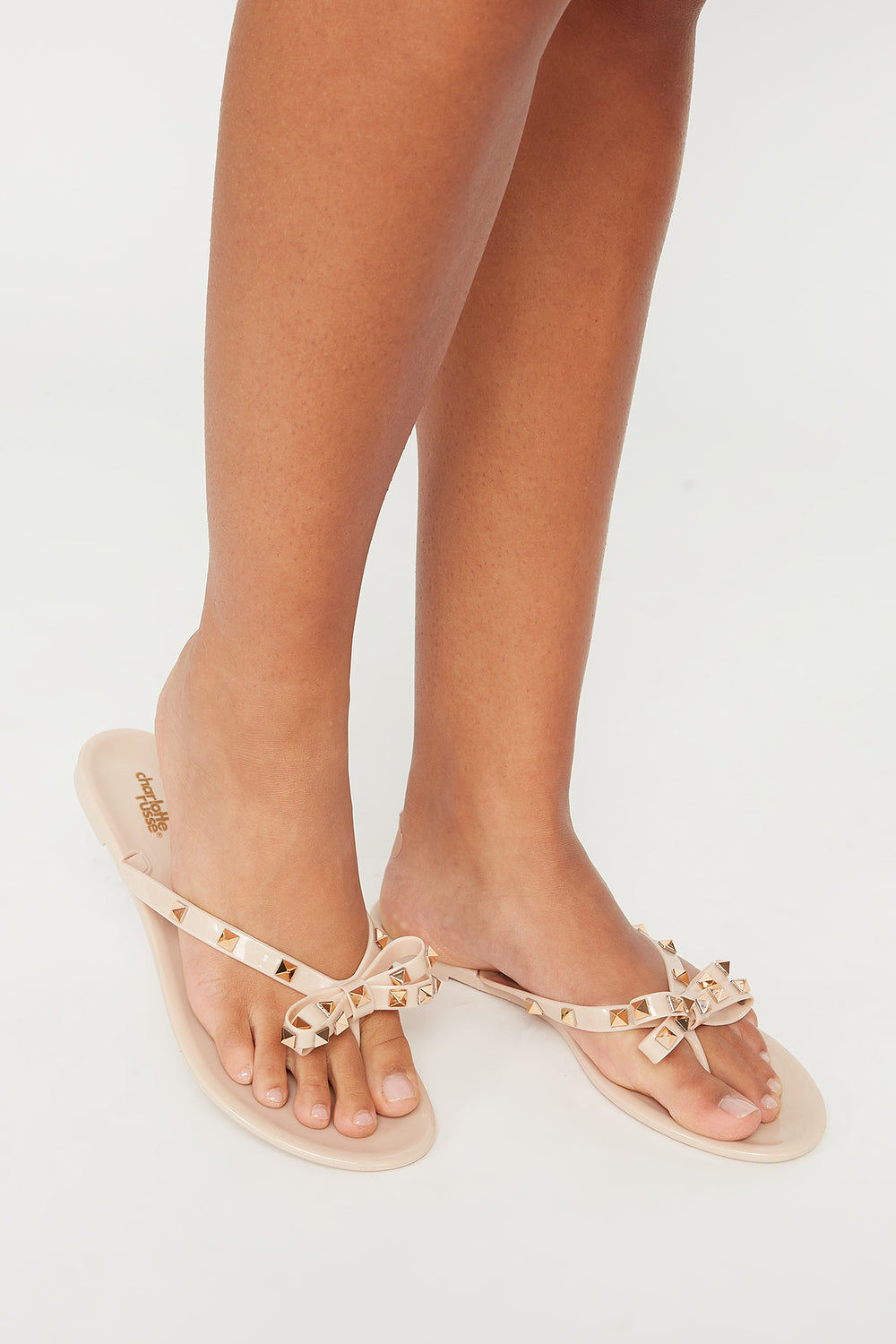 Studded Jelly Bow Thong Sandal Natural