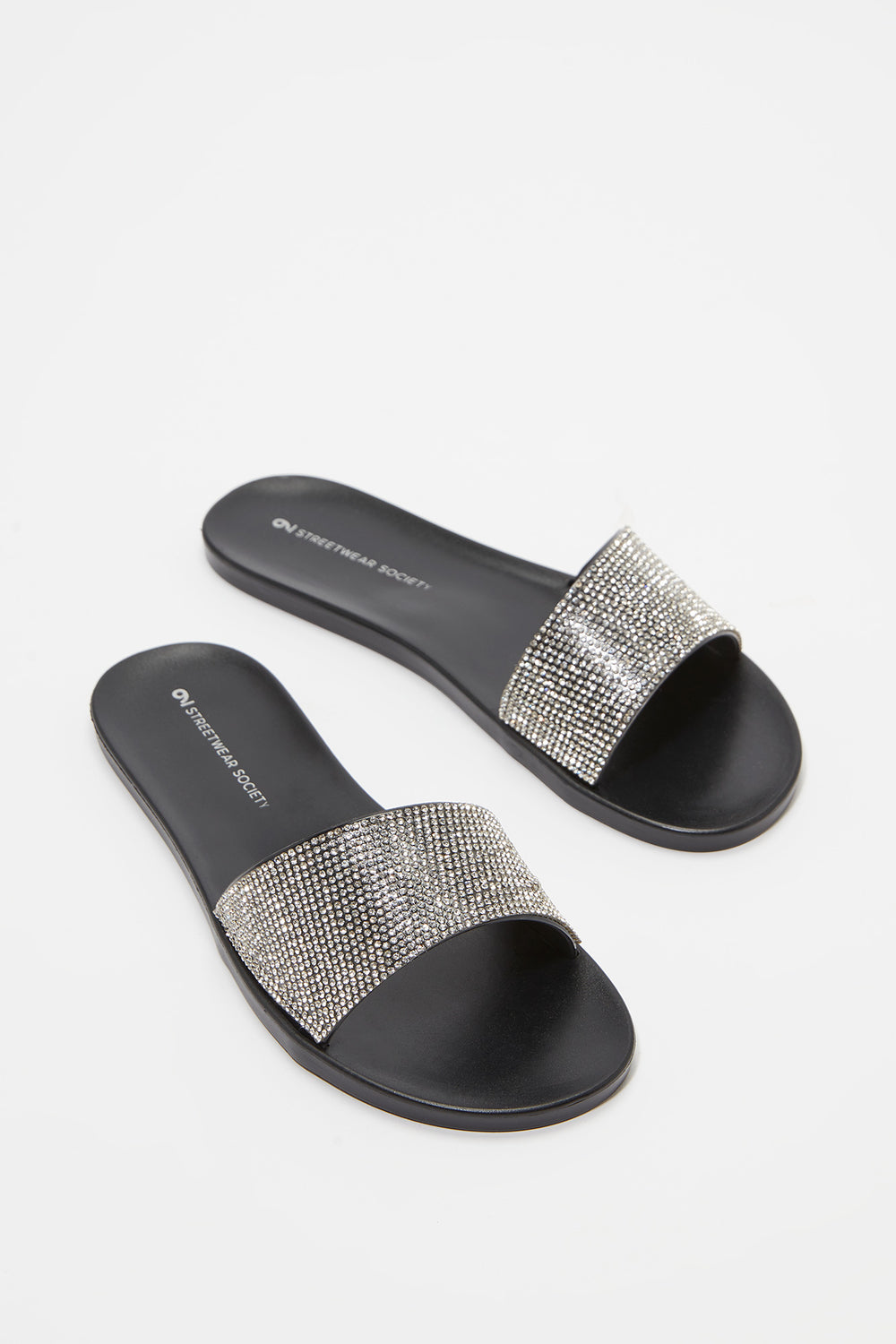 Rhinestone Band Comfort Slip-On Sandal Black