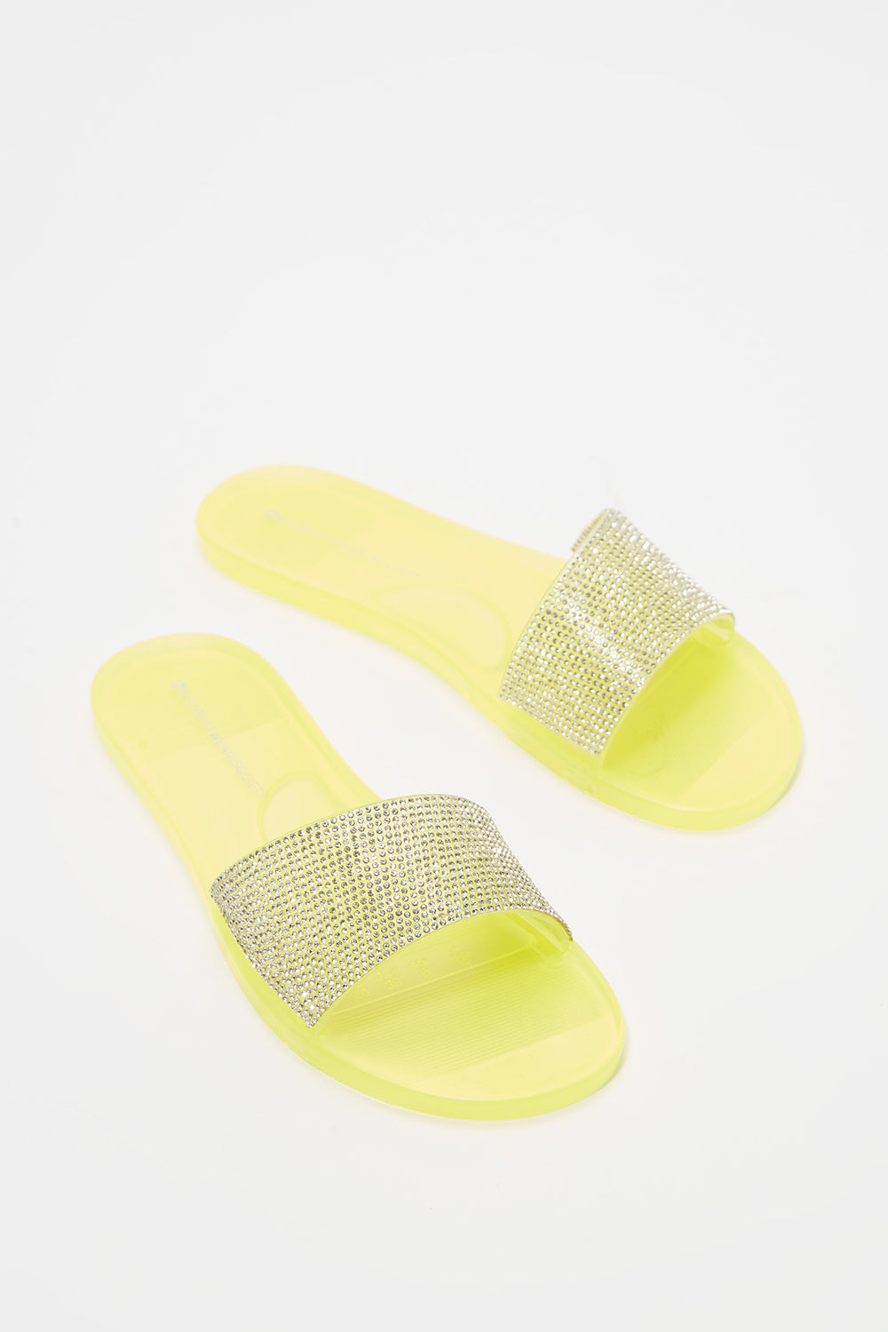 Rhinestone Band Comfort Slip-On Sandal Neon Yellow