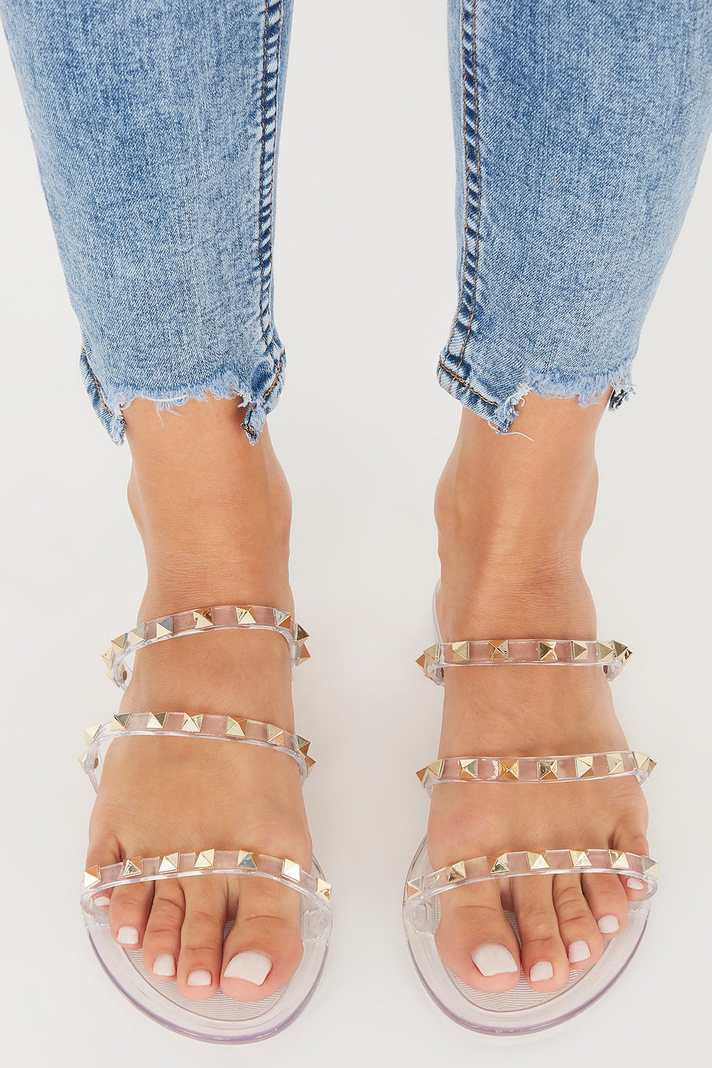 Studded Jelly Triple Band Sandal Clear