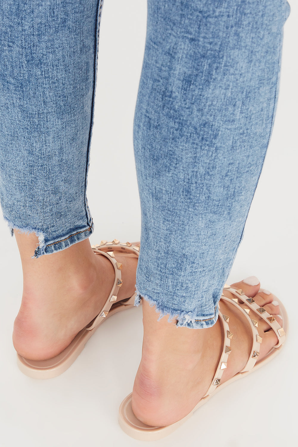 Studded Jelly Triple Band Sandal Natural