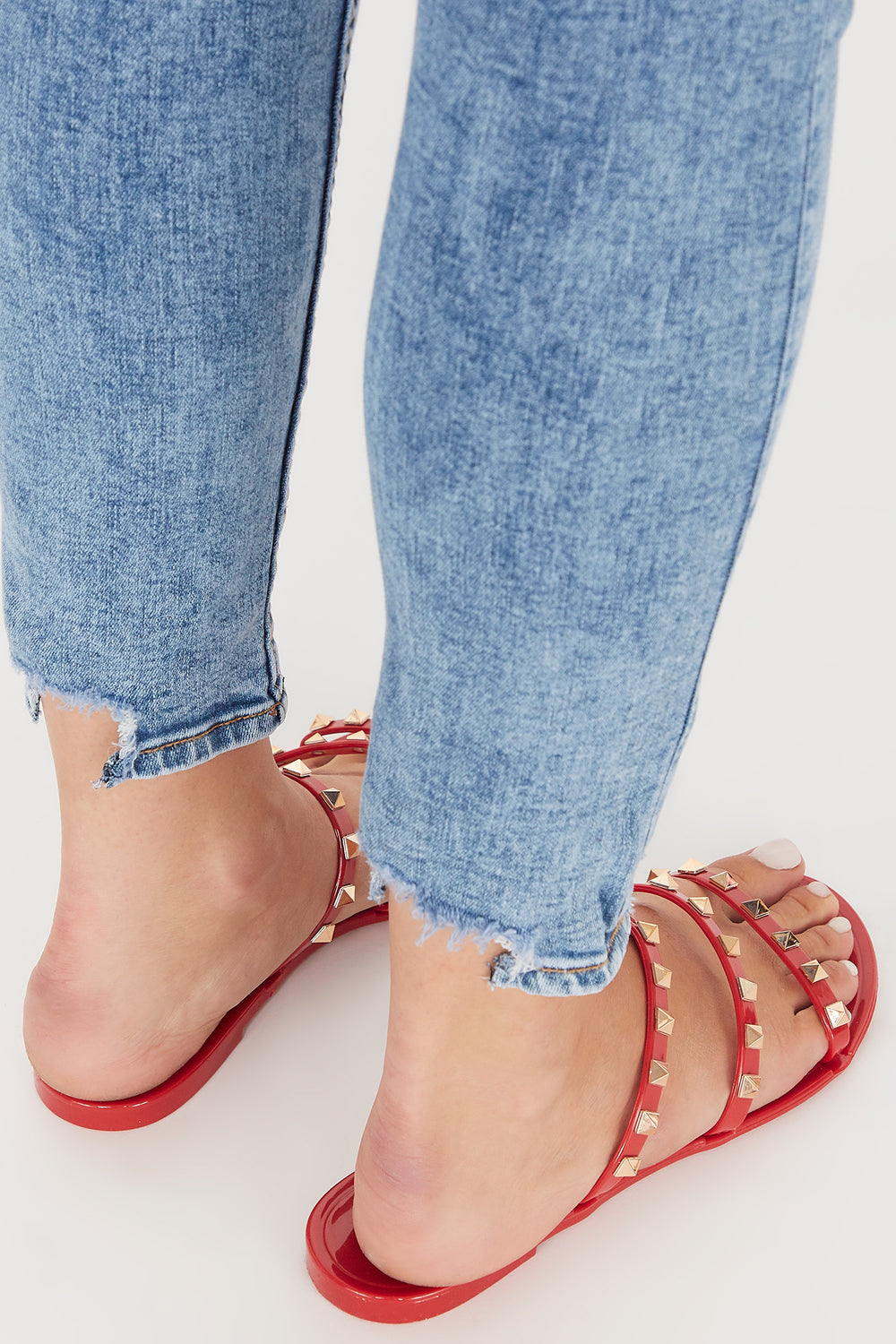 Studded Jelly Triple Band Sandal Red