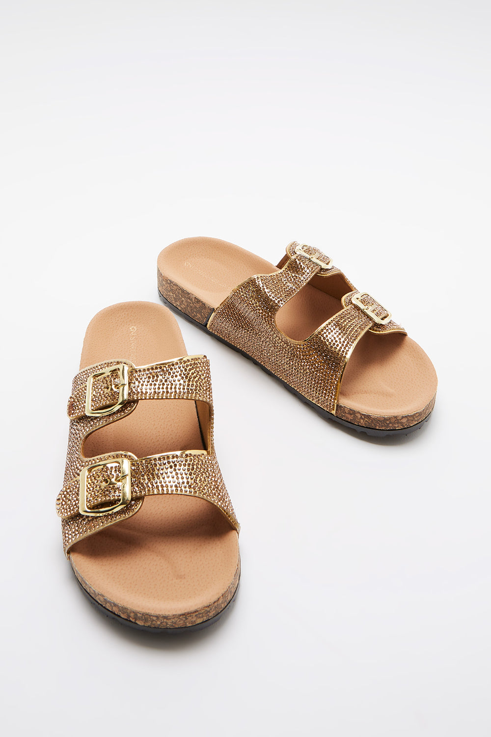 Rhinestone Double Band Cork Slide Gold
