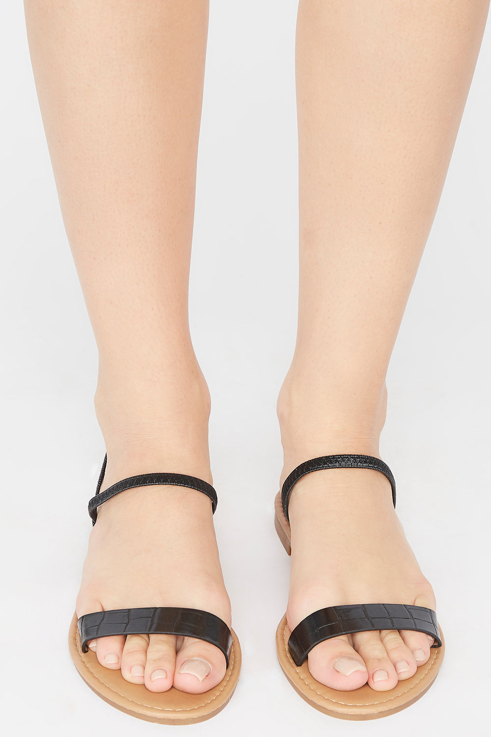 Single Band Elastic Slingback Sandal Black