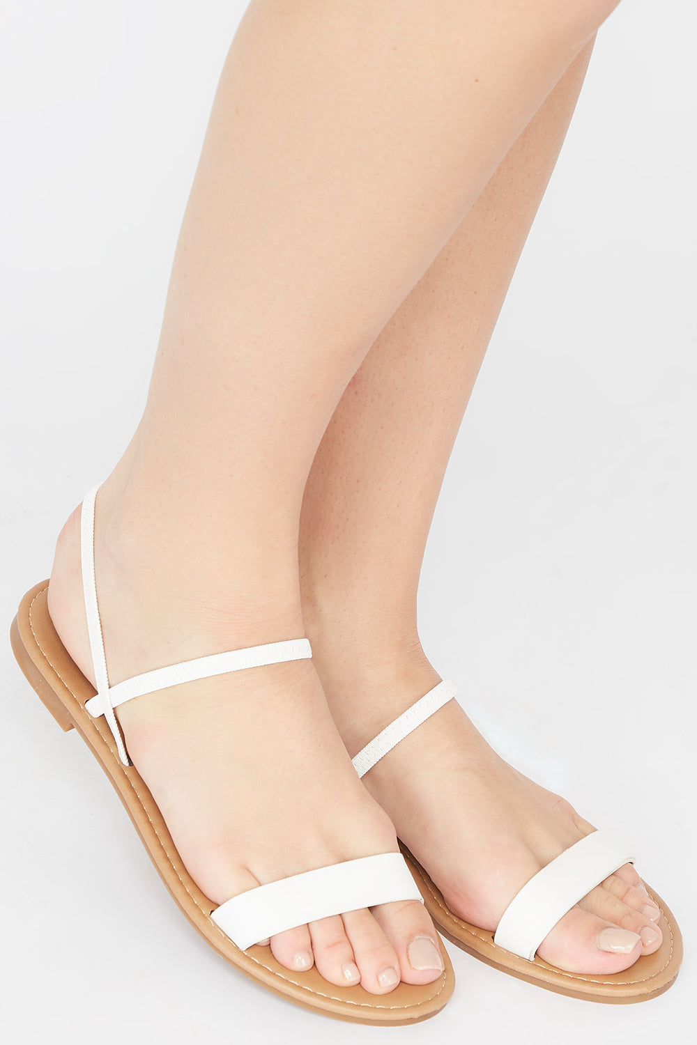 Single Band Elastic Slingback Sandal White