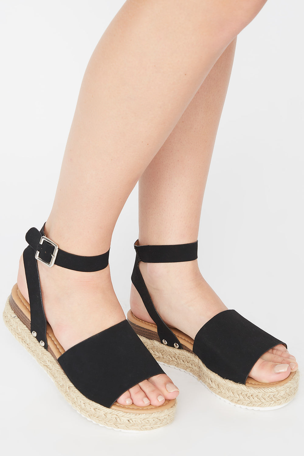 Open-Toe Thick Band Buckle Espadrille Sandal Black