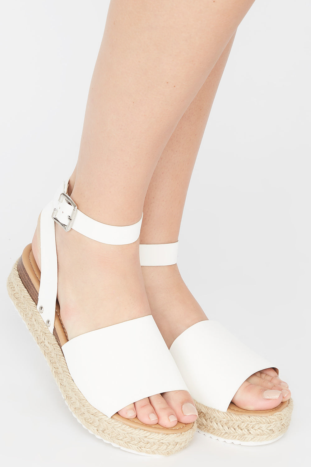 Open-Toe Thick Band Buckle Espadrille Sandal White