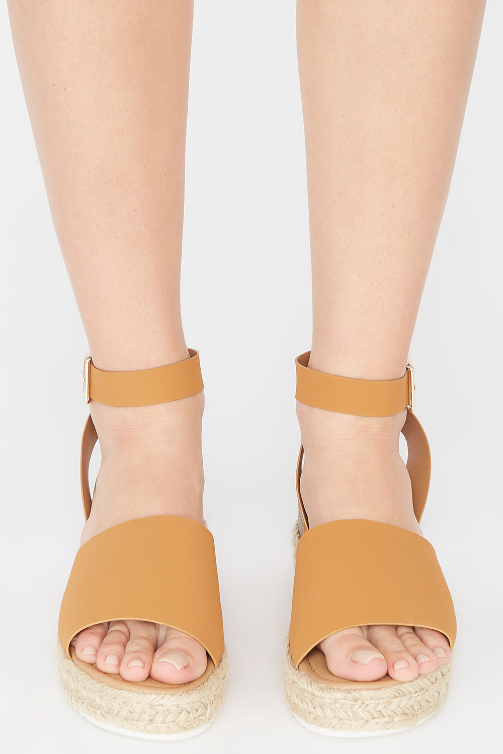 Open-Toe Thick Band Buckle Espadrille Sandal Tan