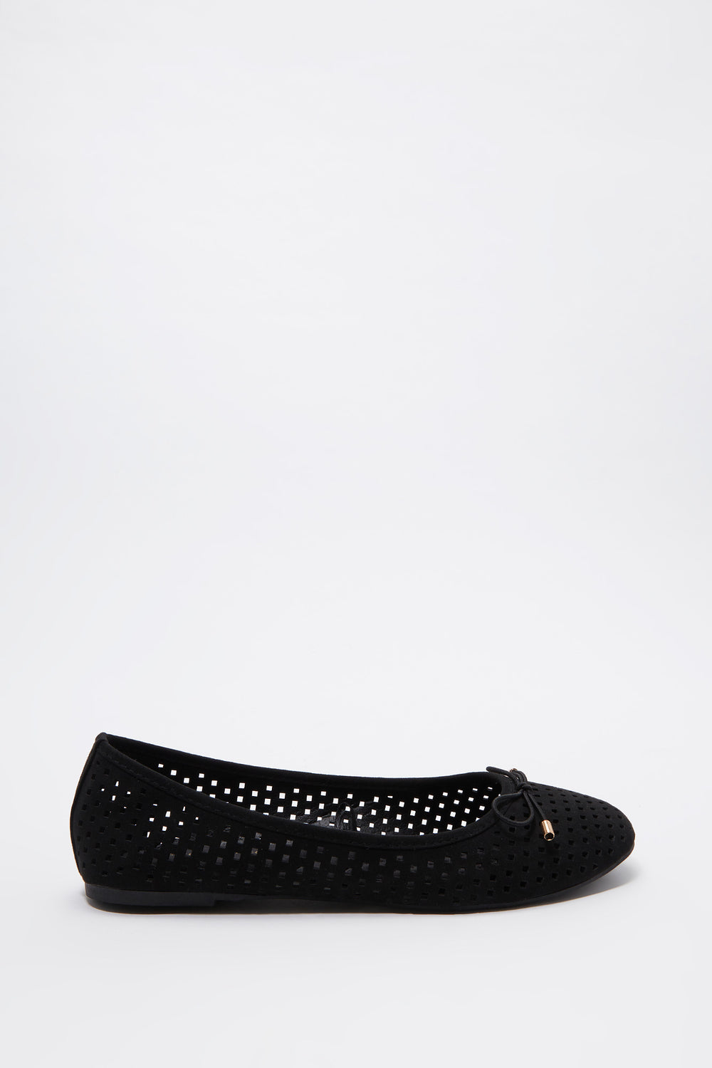 Laser Cut Out Bow Ballet Flat Black