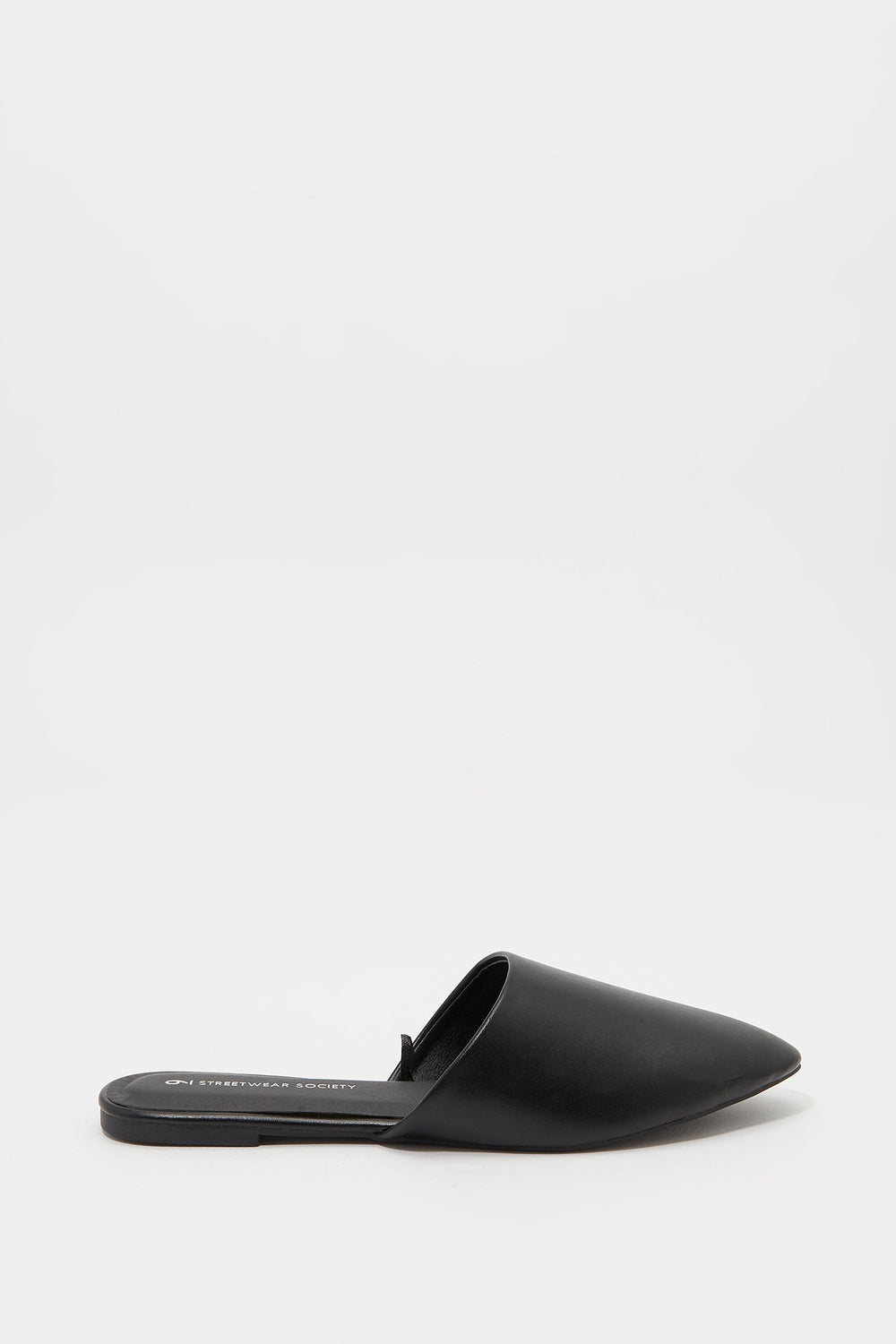 Pointed Mule Flat Jet Black